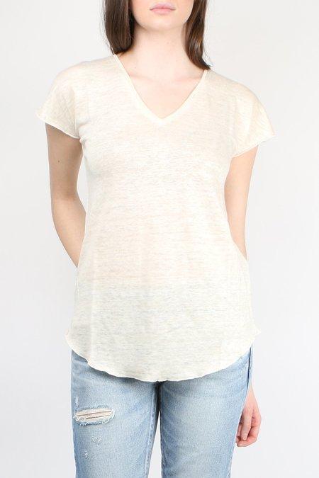 Cathrine Hammel Linen V Neck Tee - Off White