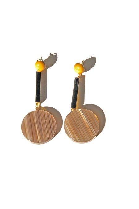 Rachel Comey Jo Earrings - Beige Stripe/Gold