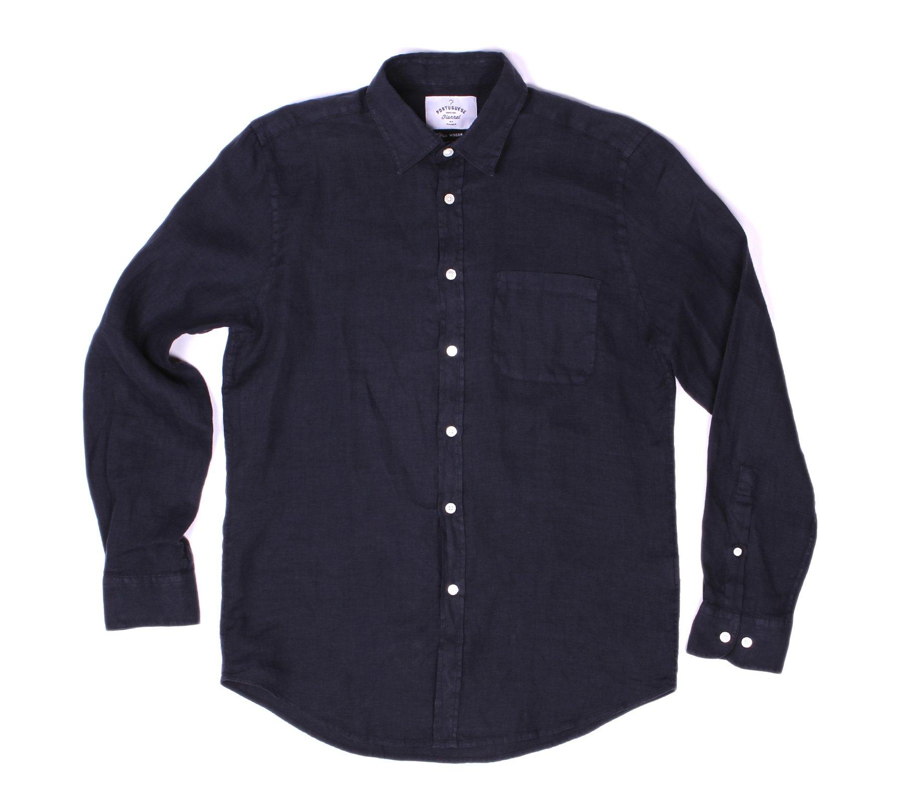 8f518e6a892a Portuguese Flannel Linen Long Sleeve Shirt - Dark Blue | Garmentory