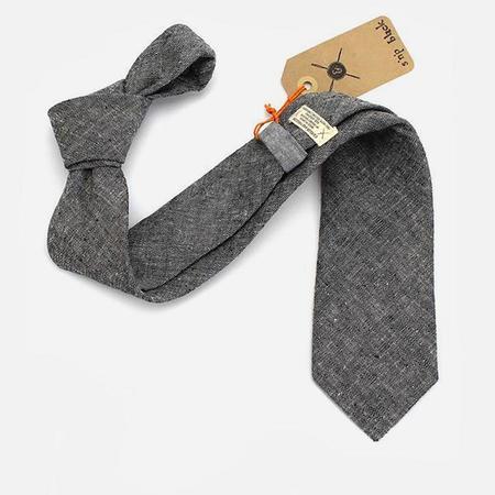 Cursor & Thread S'n'P Linen Necktie - Black