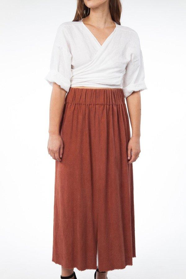 0236cc0f92 Miranda Bennett Paper Bag Skirt Silk Noil in Terracotta | Garmentory