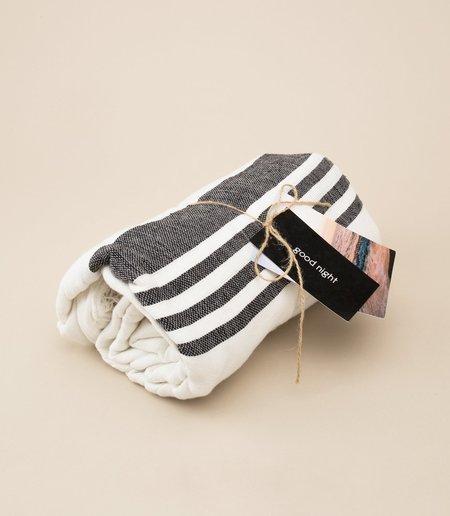 LOCANO INABEL BLACK STRIPE BLANKET - White