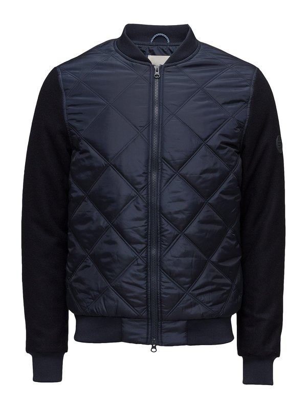 Knowledge Cotton Apparel Bomber Jacket - Wool Sleeves