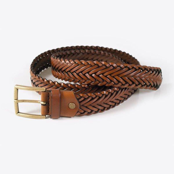 Rothirsch Braided Leather Belt - Brown