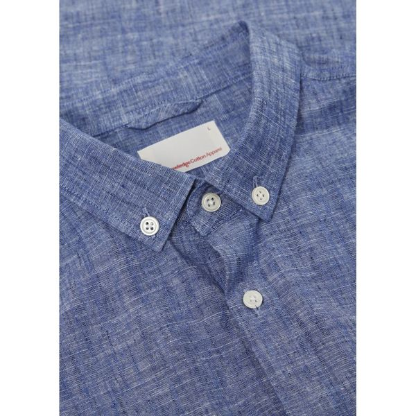 knowledge cotton apparel Cotton / Linen Shirt in strong blue