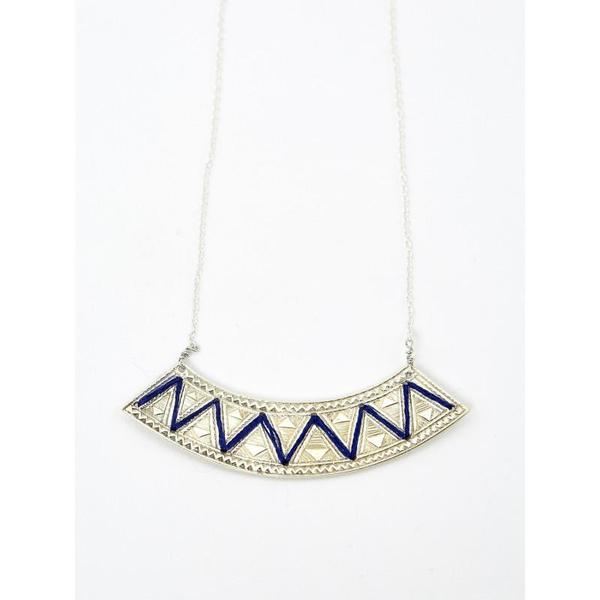 Ombre Claire Embroidered Necklace Silver blue yarn