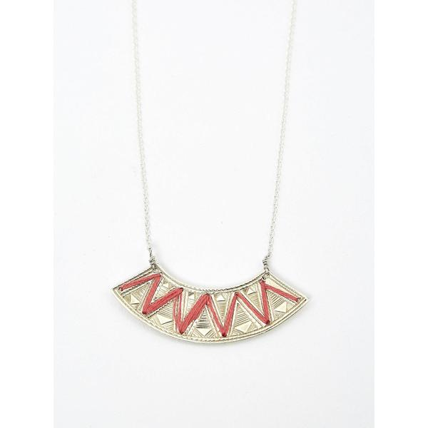 Ombre Claire Embroidered Necklace Silver red yarn