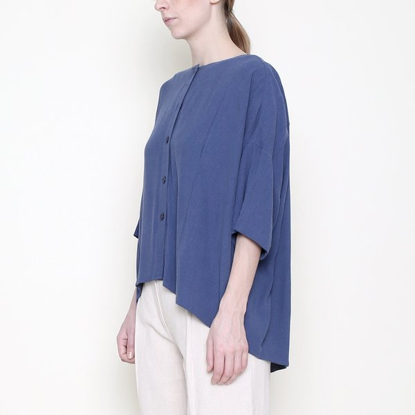 7115 by Szeki Mid-Sleeves Spring Button Down - Blue