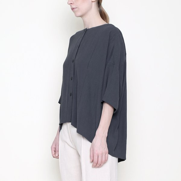 7115 by Szeki Mid-Sleeves Spring Button Down - Charcoal