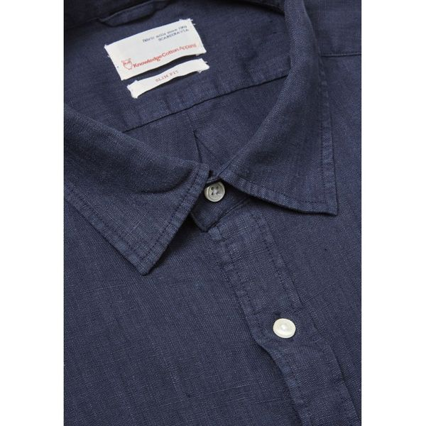 knowledge cotton apparel Fabric dyed linen shirt in total eclipse