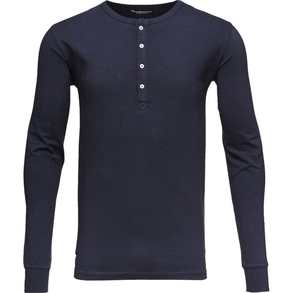 knowledge cotton apparel Henley Stretch - GOTS total eclipse