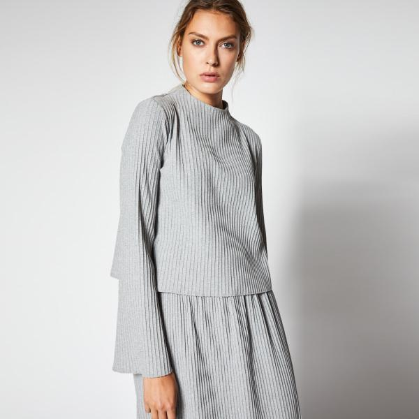 Lanius pleated shirt with trumpet sleeves grey