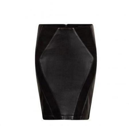 Ignore Saya Eco Leather Skirt - Black