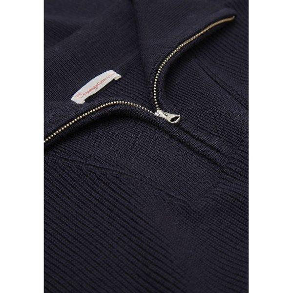 knowledge cotton apparel Zip Neck Rib Knit total eclipse