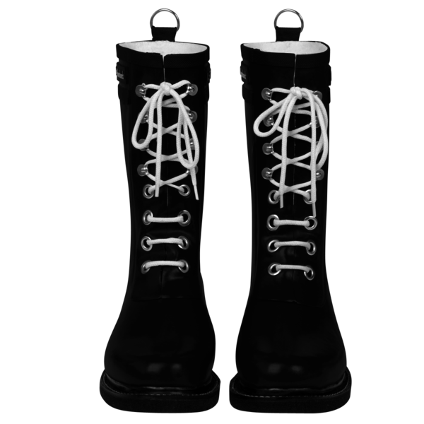 Classic Rubber Boot With Laces, Black