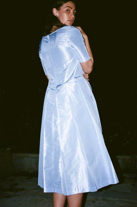 Suzanne Rae Pleated Dress - Powder Blue Taffeta