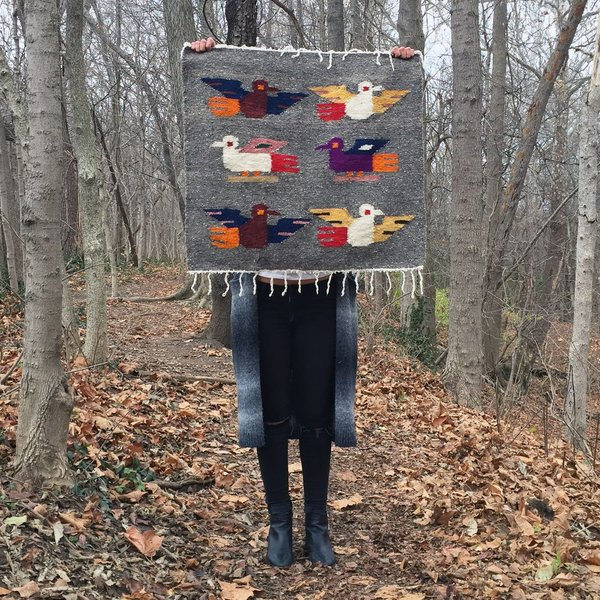Small Gray Birds Handwoven Tapestry