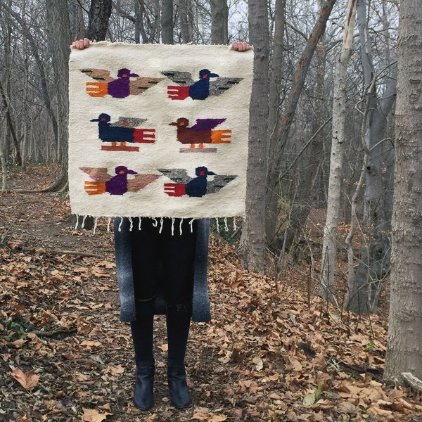 Small White Birds Handwoven Tapestry