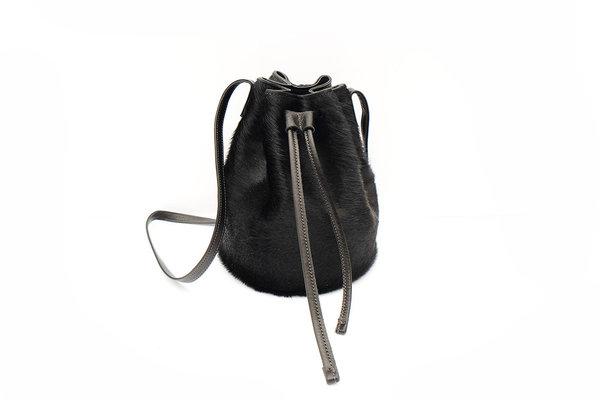 Primecut: Black Cowhide Bucket Bag