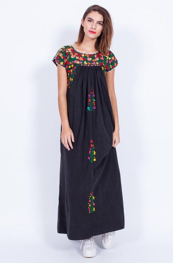 EMBROIDERY BLACK DRESS (SMALL-MEDIUM)