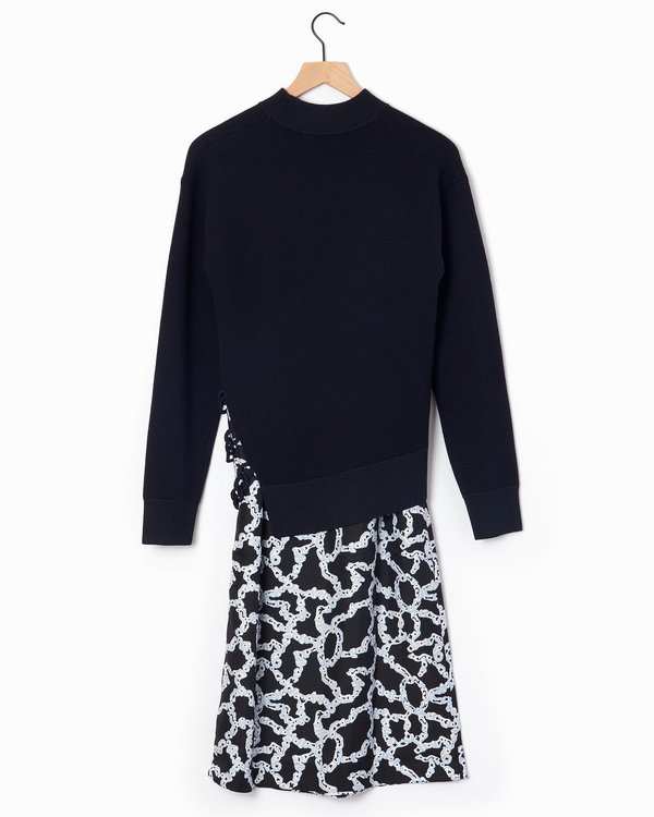Carven Knit Combo Dress - Navy
