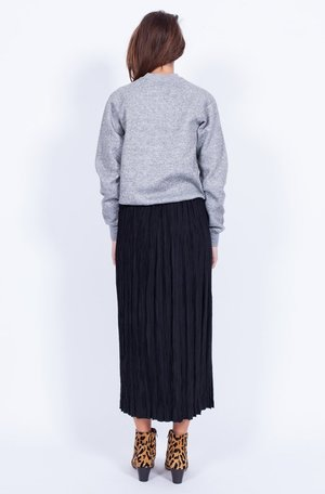 BLACK PLEATED MIDI SKIRT (SMALL)