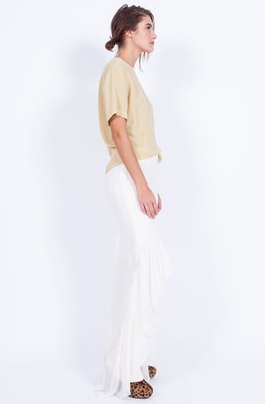 Yo Vintage! Cream Ruffle Valentino Silk Pants - Med