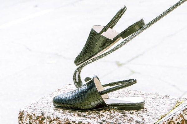 """INTENTIONALLY __________."" SOPHIE sandal - Black Croco"