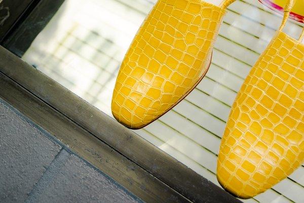 """INTENTIONALLY __________."" SOPHIE sandal - Marigold Croco"