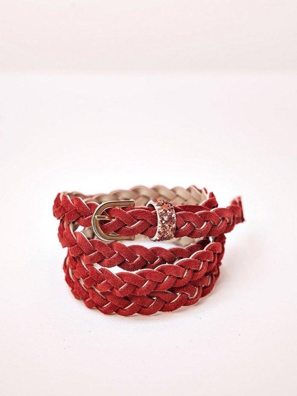 Des Petits Hauts Lavinia Plait Belt - Red