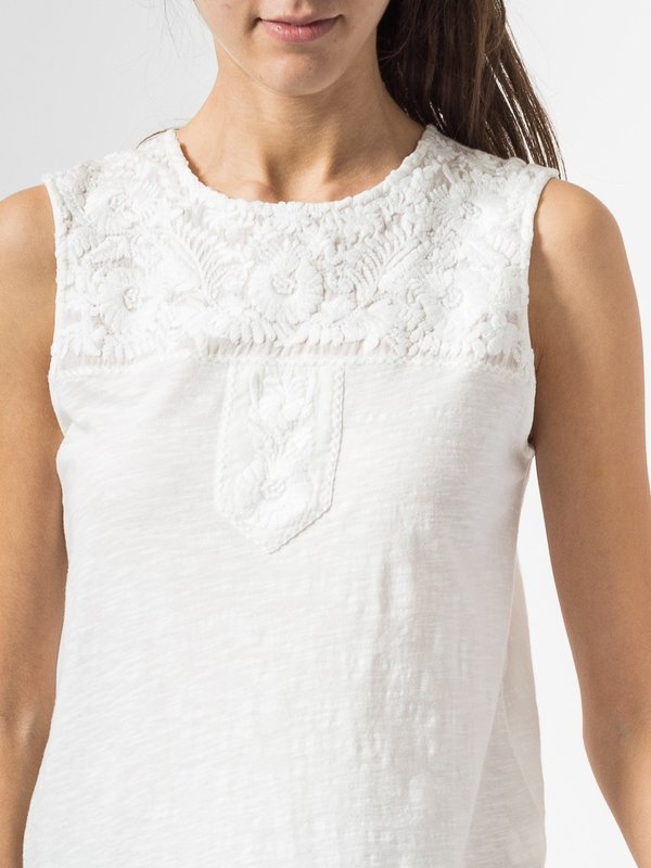 Indi & Cold Embroidered Sleeveless Top in White