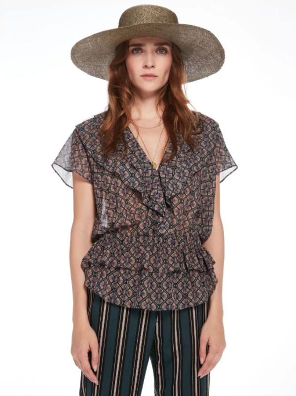 Maison Scotch Voile Ruffle Sheer Top