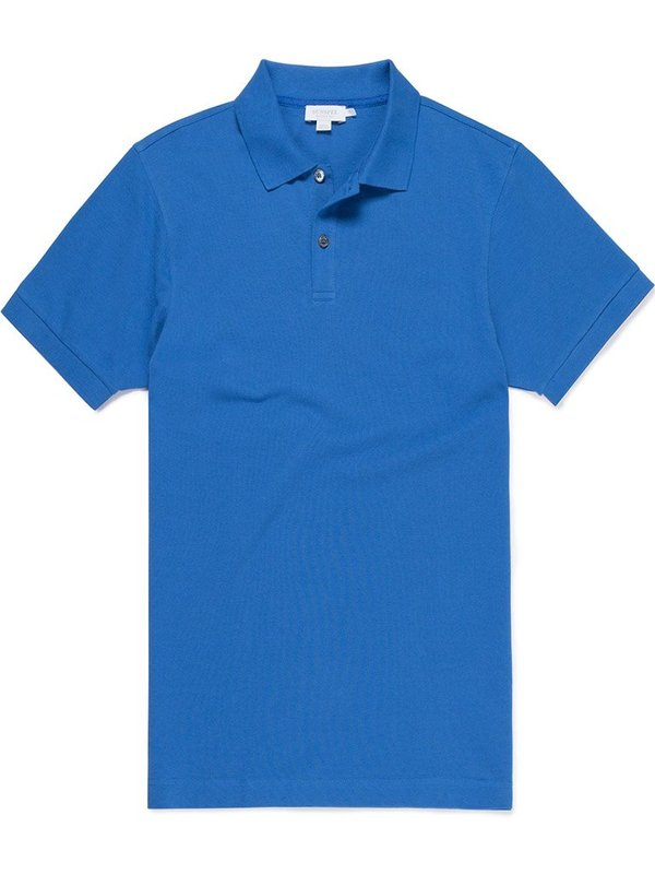 Sunspel Pique Polo in Klein Blue