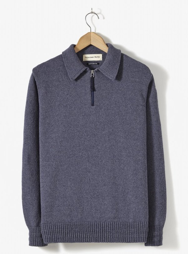 Universal Works Zip Knit Sweater - Navy