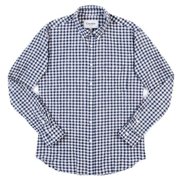 Corridor Long Sleeve Shirt - Navy/Red Seersucker Plaid