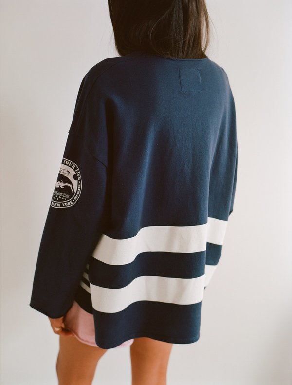 OffSeasonNYC Token Pull Over - Navy French Terry