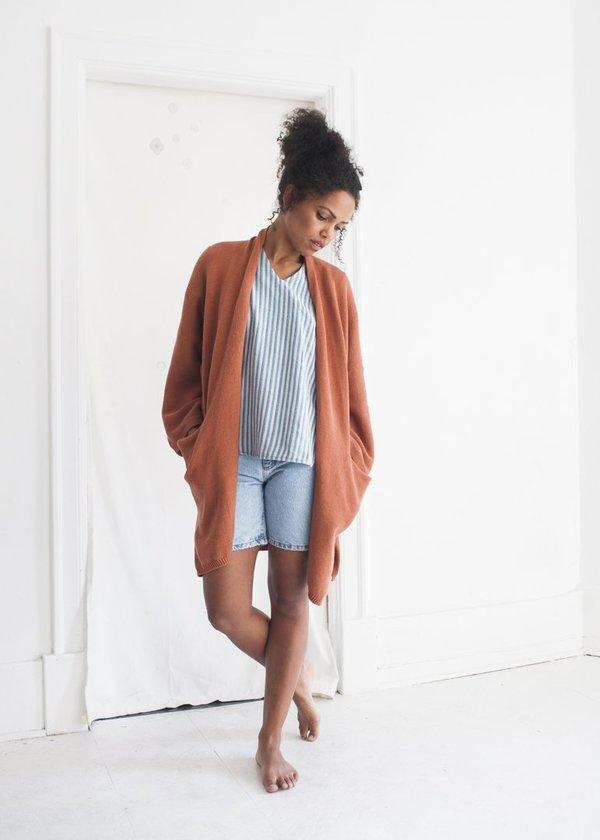 Bare Knitwear Kimono Coat in Clay
