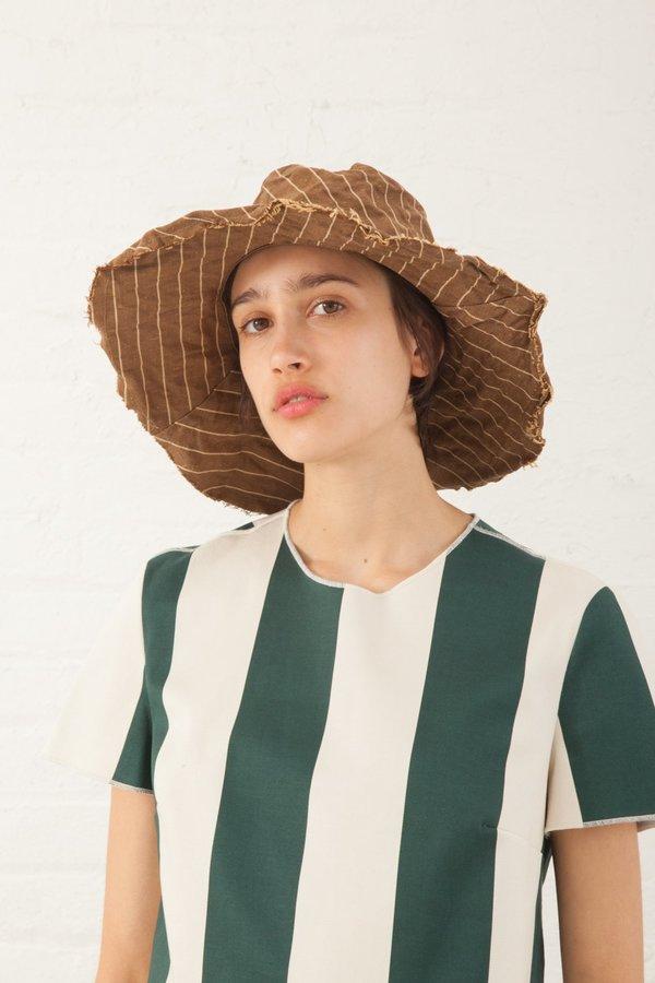 Reinhard Plank Cotton Textile Hat - Brown Stripe