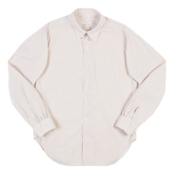 Engineered Garments Tab Collar Shirt—Khaki White Stripe