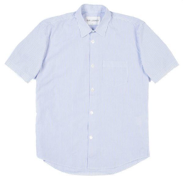 BlackBlue Archive Our Legacy Initial SS Shirt - Light Blue Club Stripe