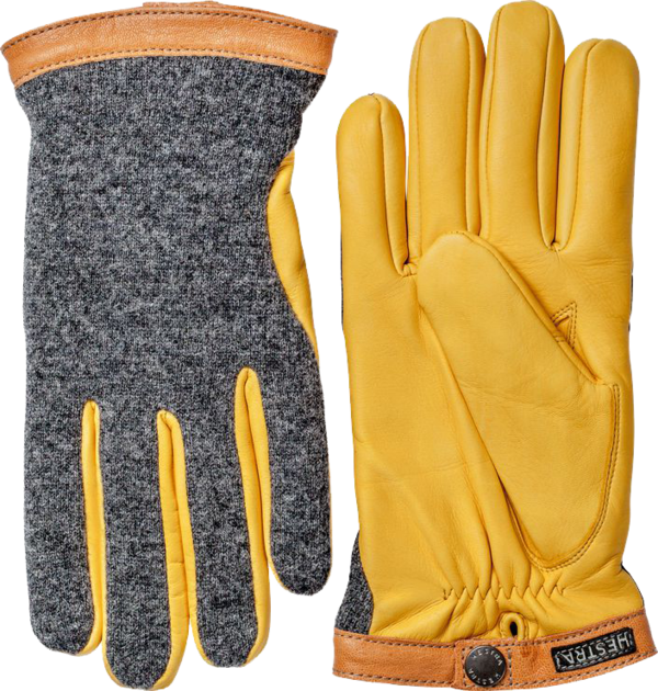 Hestra Deerskin Wool Tricot, Charcoal / Natural Yellow