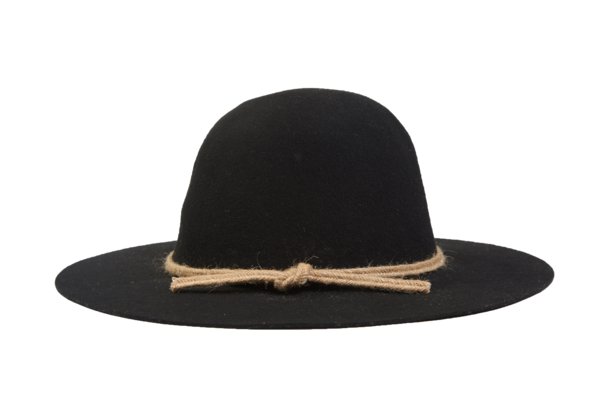 Felt Hat with Band, Black w/ tan rope