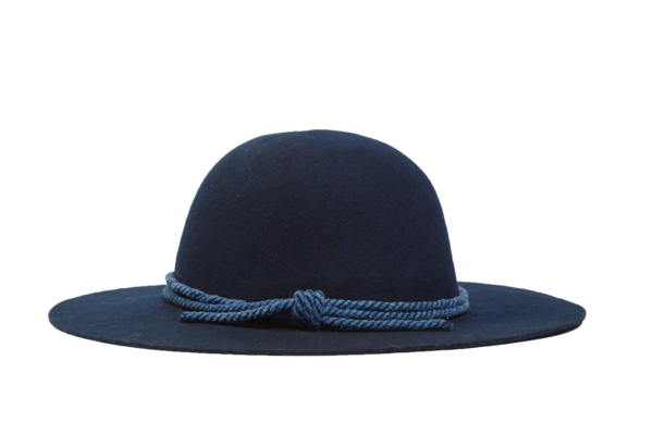 Felt Hat with Band, Navy w/ indigo rope
