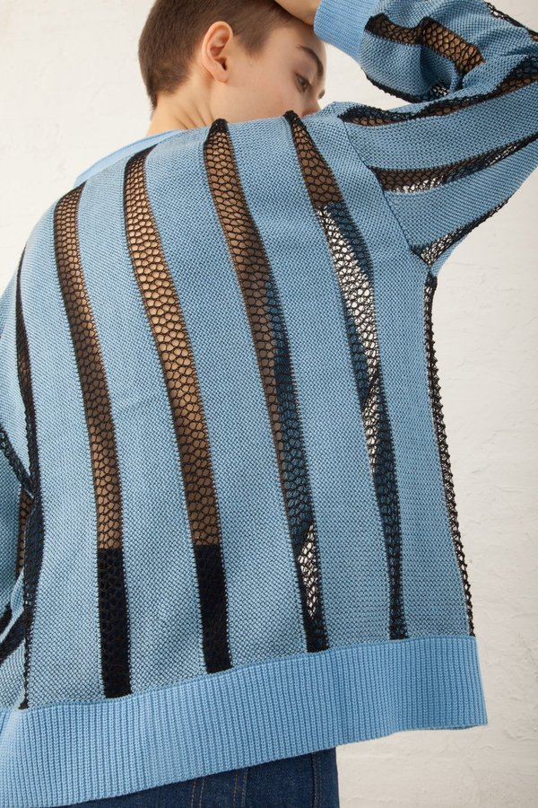 A Détacher Calvin Cardigan Stripe Mesh Knit in Sky/Black