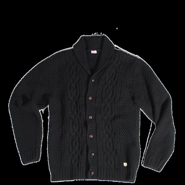 Wool / Alpaca Cable Knit Cardigan, Black