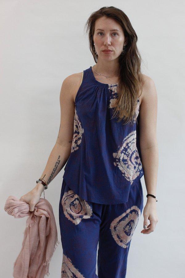 Raquel Allegra Shirred Sleeveless Top
