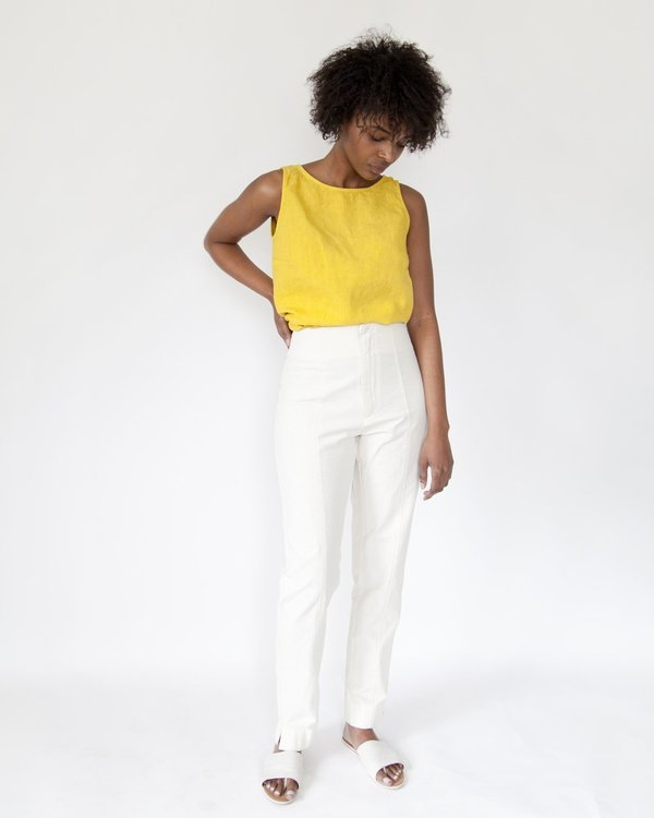 Esby Poppy Top, linen - curry