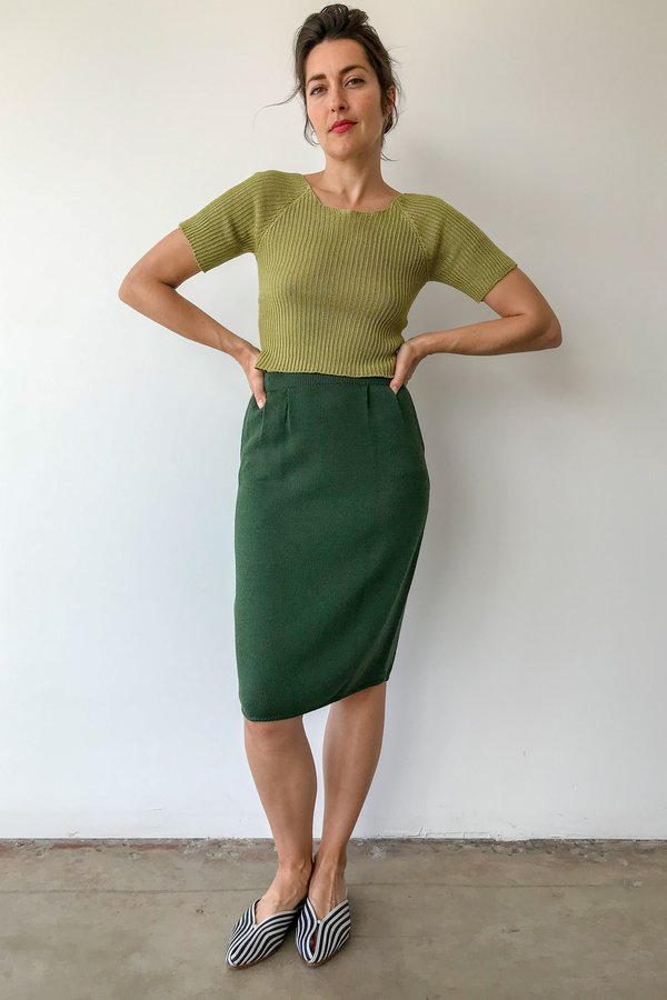 Mixed Business Vintage Knit Skirt in Forest Green
