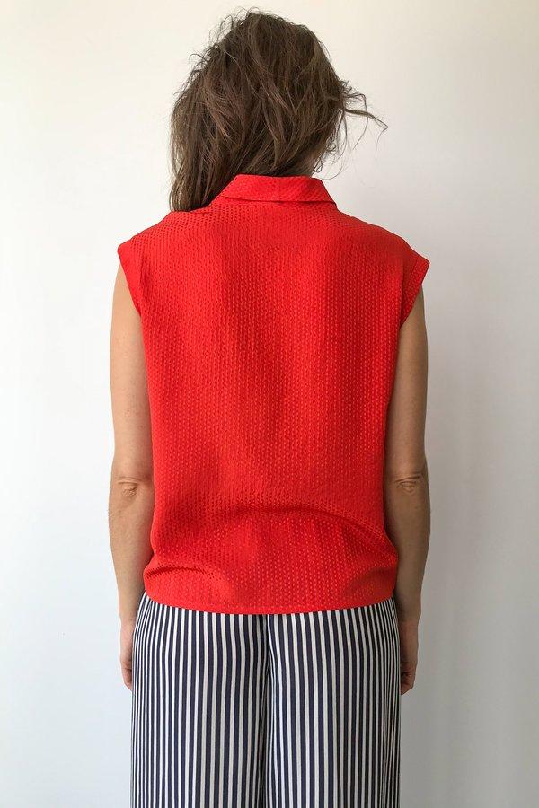Vintage Lanvin Silk Top in Red