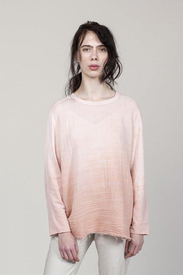 Raquel Allegra Gauze and Sueded Baby Jersey Sweatshirt - Rose Quartz